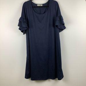 Nemidor Ruffle Sleeve Dress in Dark Blue